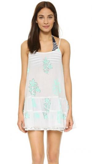 Пляжное мини-платье с вышивкой Juliet Dunn. Цвет: белый/аква