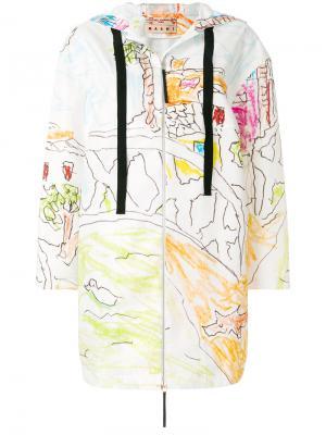 Пальто с принтом Magdalena Suarez Marni. Цвет: белый