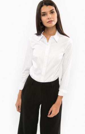 Классическая белая рубашка с приталенным кроем DRYKORN. Цвет: белый