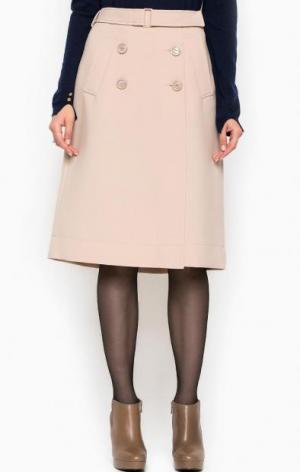 Бежевая юбка на пуговицах Patrizia Pepe. Цвет: бежевый