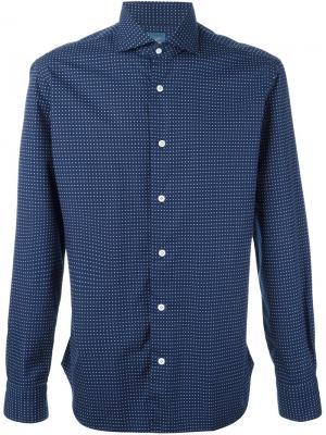 Рубашка с мелким узором Barba. Цвет: синий