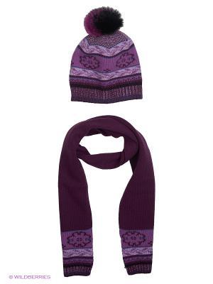 Шапка; шарф MARIELA. Цвет: фиолетовый