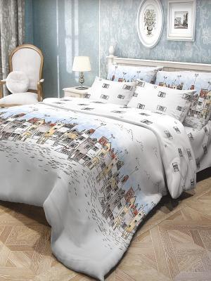 Комплект постельного белья Волшебная ночь. Цвет: голубой, белый, черный