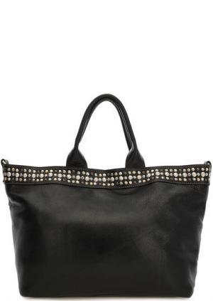 Вместительная кожаная сумка черного цвета Io Pelle. Цвет: черный