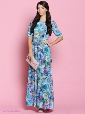Платье Colambetta. Цвет: бирюзовый, фиолетовый