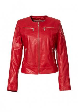Куртка кожаная Grafinia. Цвет: красный