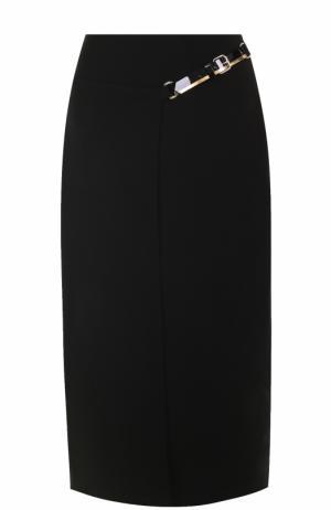 Однотонная юбка-миди с кожаной отделкой Lanvin. Цвет: черный