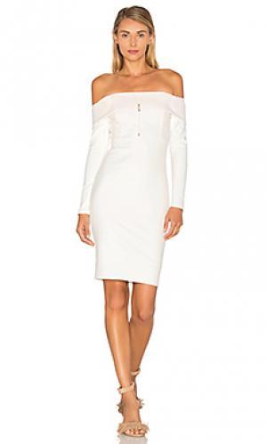 Платье с открытыми плечами и длинными рукавами Michelle Mason. Цвет: ivory