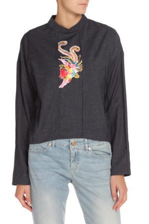 Блуза с аппликацией NATALIA PICARIELLO. Цвет: серо-синий