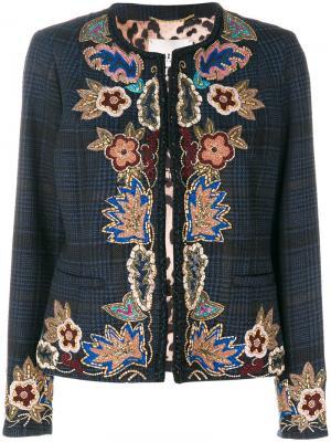 Пиджак с вышивкой Bazar Deluxe. Цвет: синий