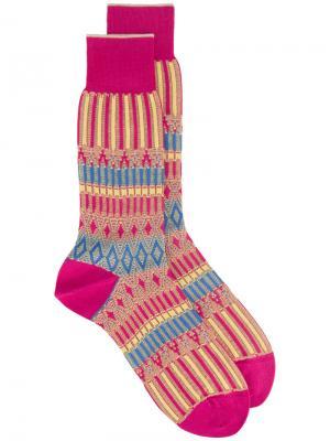 Носки с орнаментом Ayamé. Цвет: розовый и фиолетовый
