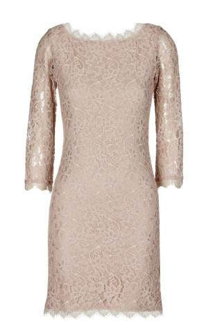 Кружевное платье на молнии с V-образным вырезом сзади Diane Von Furstenberg. Цвет: бежевый