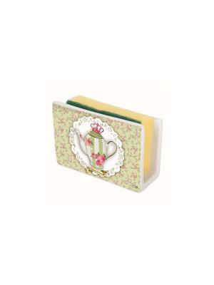 Маскировочный держатель для губки из керамики Чайная королева Orval. Цвет: зеленый, розовый, белый