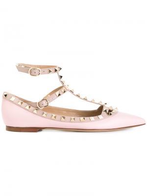 Балетки  Garavani Rockstud Valentino. Цвет: розовый и фиолетовый