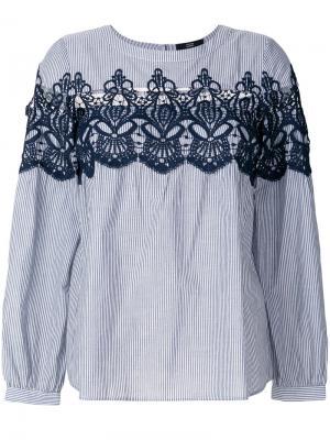 Блузка в полоску с кружевной вставкой Steffen Schraut. Цвет: синий