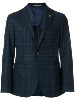 Пиджак в клетку Paoloni. Цвет: синий