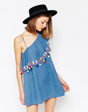 Piper Платье на одно плечо с оборками и кисточками Java. Цвет: синий