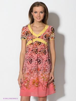 Платье TOPSANDTOPS. Цвет: розовый, желтый