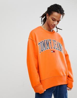 Tommy Jeans Оранжевый свитшот Collegiate Capsule. Цвет: оранжевый