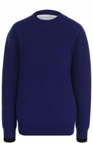 Шерстяной пуловер фактурной вязки Victoria, Victoria Beckham. Цвет: синий