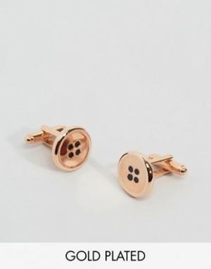 Simon Carter Розово-золотистые запонки в виде пуговиц эксклюзивно для. Цвет: золотой