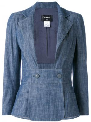 Приталенный пиджак Chanel Vintage. Цвет: синий