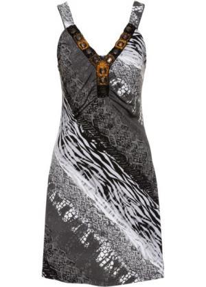 Летнее платье (черный/белый с узором) bonprix. Цвет: черный/белый с узором