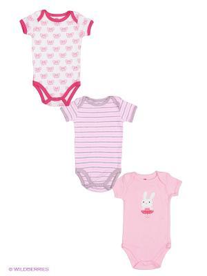 Боди, 3 шт. Hudson Baby. Цвет: розовый, малиновый, серый