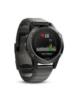 Умные часы Fenix 5 Sapphire серые с металлическим браслетом GARMIN. Цвет: темно-серый