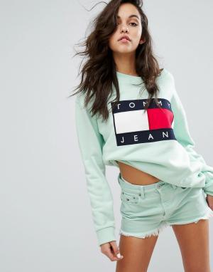 Tommy Jeans Свитшот в стиле 90-х. Цвет: зеленый