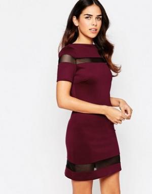 Amy Childs Цельнокройное платье с сетчатыми вставками Suki. Цвет: фиолетовый
