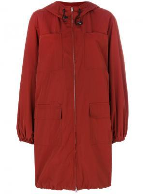 Классическое пальто на молнии Marni. Цвет: красный