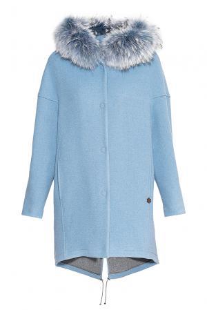 Пальто из шерсти и хлопка с мехом мурмаски 172345 Mouche. Цвет: синий