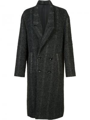 Двубортное пальто Second/Layer. Цвет: серый