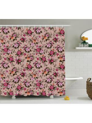 Фотоштора для ванной Цветы на пепельно-розовом фоне, 180*200 см Magic Lady. Цвет: розовый