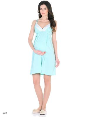 Ночная сорочка для беременных и кормящих FEST. Цвет: бирюзовый