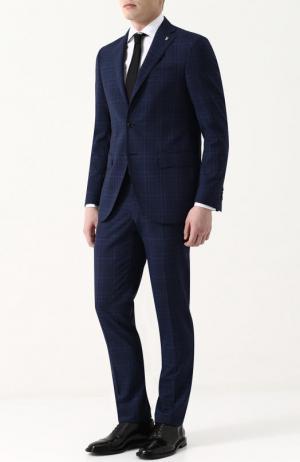 Шерстяной костюм с пиджаком на двух пуговицах Sartoria Latorre. Цвет: темно-синий