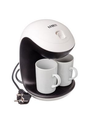 Кофеварка капельная 350Вт две керамические чашки 0,3л LEBEN. Цвет: белый