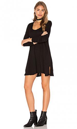 Платье с овальным вырезом lily LA Made. Цвет: черный