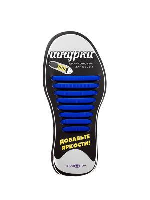 Cиликоновые шнурки TERRITORY. Цвет: синий