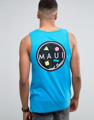 Maui & Sons Майка с логотипом Cookie. Цвет: синий
