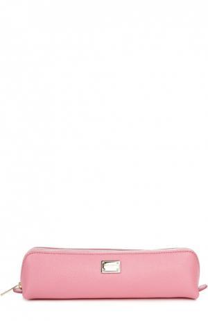 Кожаный пенал на молнии Dolce & Gabbana. Цвет: светло-розовый