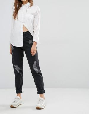 Waven Потертые джинсы в винтажном стиле Elsa. Цвет: черный