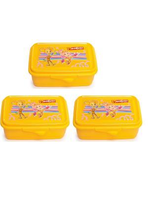 Комплект из 3х контейнеров Фиксики Полимербыт. Цвет: желтый