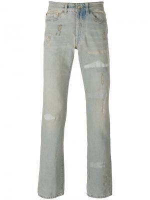 Прямые джинсы с потертостями Htc Hollywood Trading Company. Цвет: синий