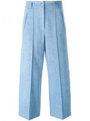 Укороченные широкие джинсы Barbara Bui. Цвет: синий