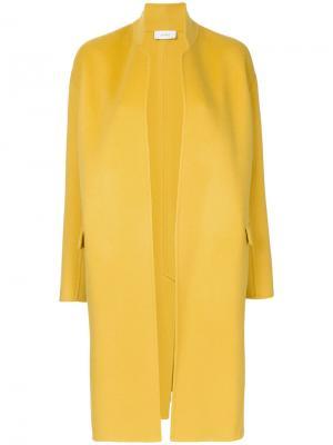 Строгое длинное пальто Astraet. Цвет: жёлтый и оранжевый