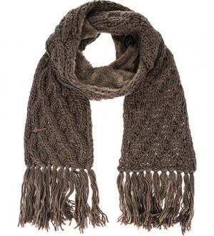 Шарф коричневого цвета крупной вязки HERMAN. Цвет: коричневый