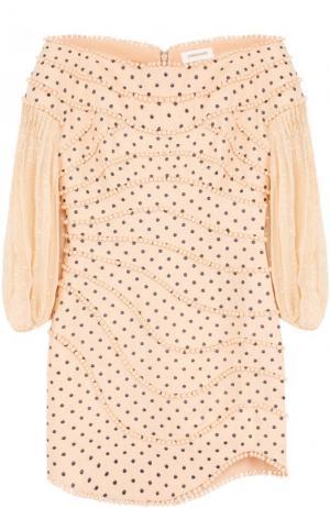 Льняное мини-платье с укороченным рукавом и открытыми плечами Zimmermann. Цвет: бежевый