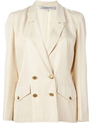 Двубортный пиджак Jean Louis Scherrer Vintage. Цвет: телесный
